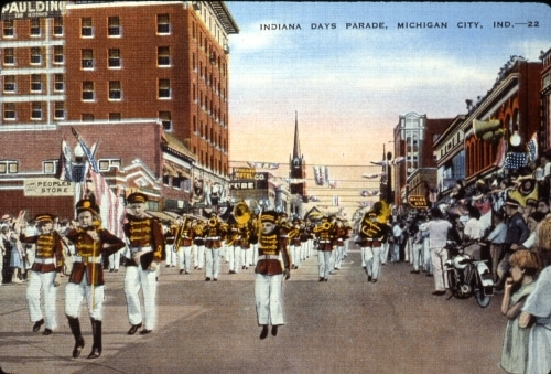 Postcard Of Indiana Days Parade