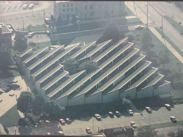 aerial view of library building