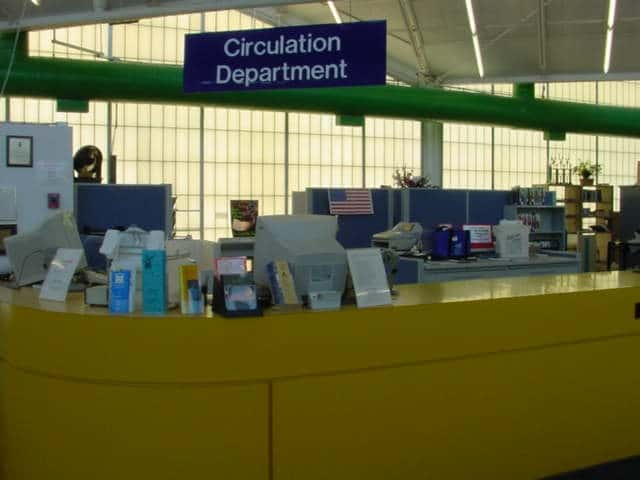circulation desk prior to renovation