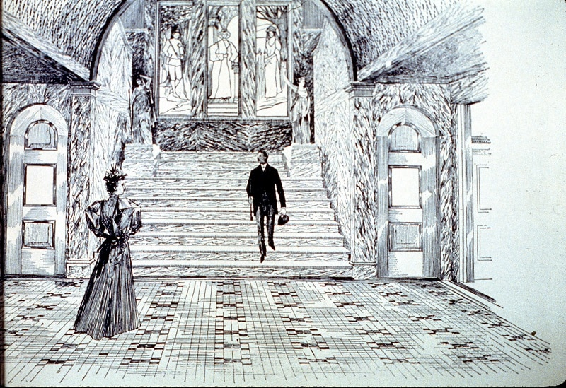 Artist's Conception Of Grand Staircase In Michigan City Public Library Building