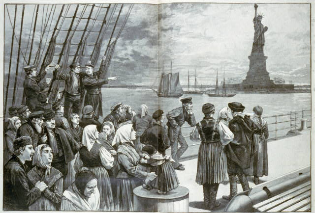 Immigrants On Steamer; Statue Of Liberty In Background