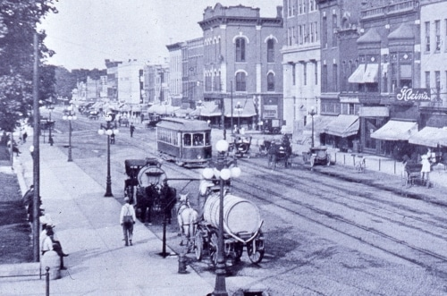 interurban in downtown LaPorte