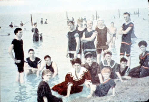 Beachgoers at Washington Park Beach, early 1900s
