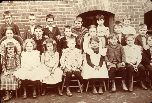 Group photo of students at county one-room school