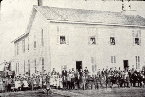 students in front of Laird School