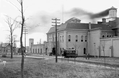 streetcar in front of Indiana State Prison