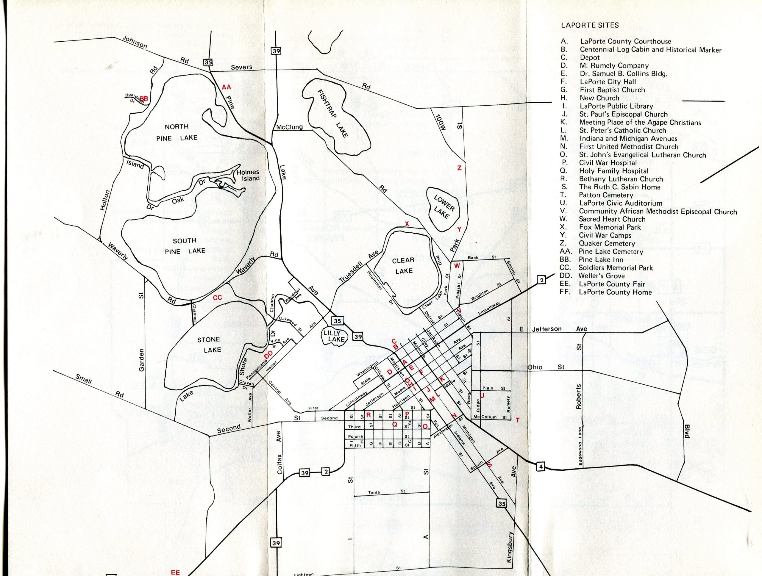 Portable LaPorte County -- map of LaPorte sites