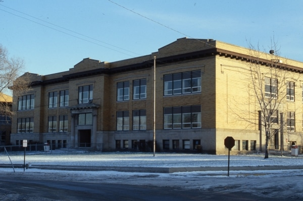 The 1909 Elston High School, Detroit & Spring. Photo around 1977; at time of photo, in use as Elston Junior High School.