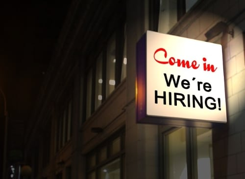 Building With Sign: Come In, We're Hiring