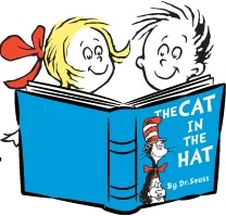 drawing of kids reading cat in the hat