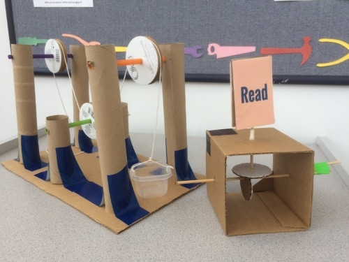 cardboard pulley and automata