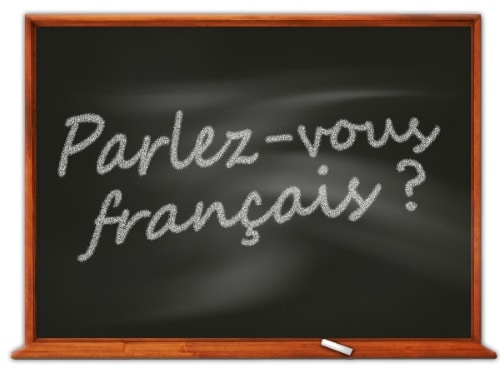 "blackboard with ""Parlez-vous francais?"""
