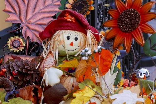straw figure, leaves, and autumn stuff