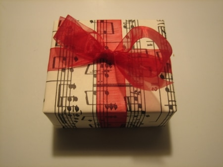 present with sheet music wrapping paper