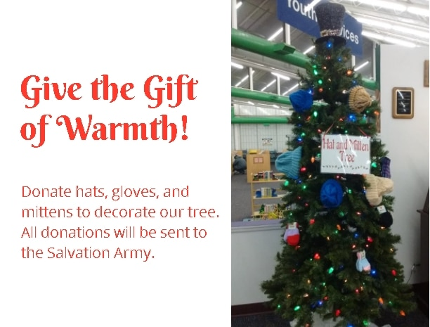 Donate to the Library Mitten Tree & Food Drive