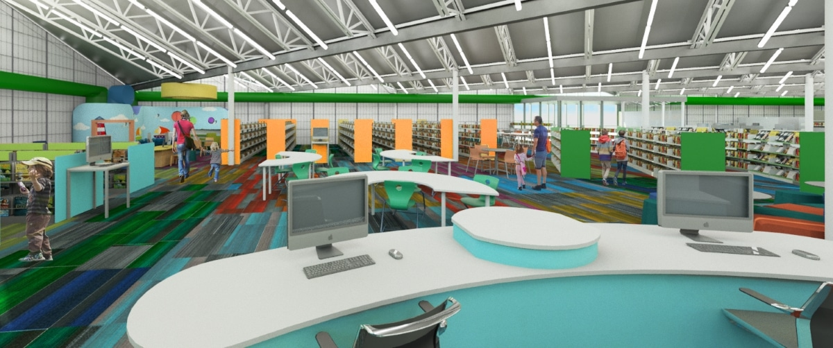 Rendering Of View From Youth Services Desk