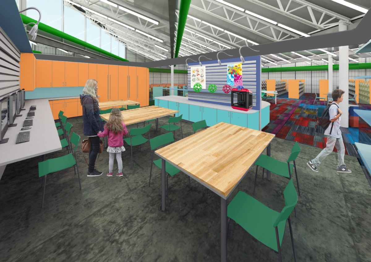 Rendering Of Interior Of Makerspace