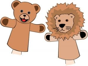 bear and lion hand puppets