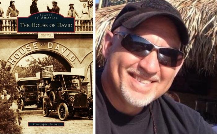 House of David book jacket and Chris Siriano photo