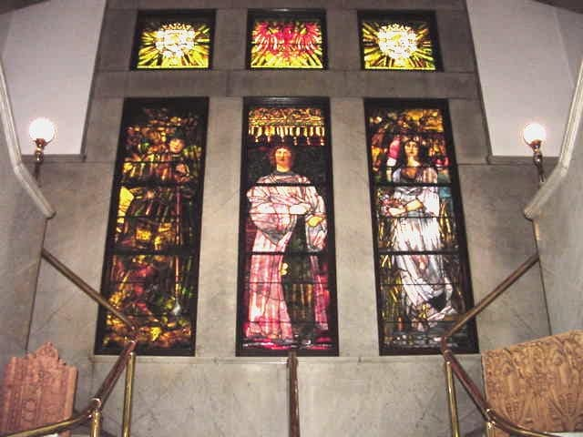 Stained Glass Windows At The Top Of The Stairs In The Old Library Building.