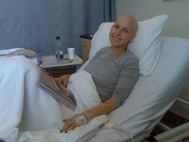 cancer patient reading magazine