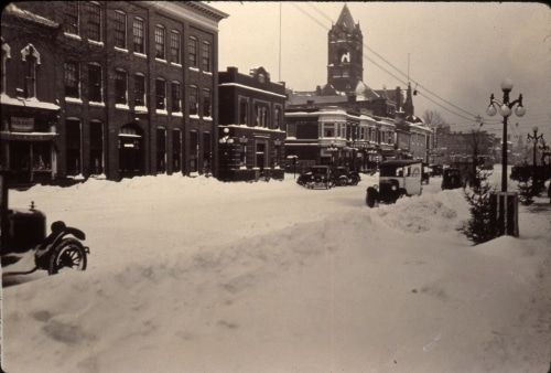 Snow-covered downtown LaPorte, 1920s