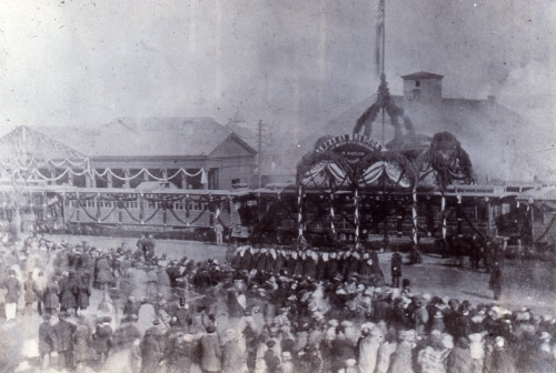 Abraham Lincoln funeral train at station.
