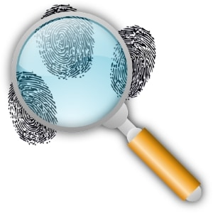 magnifying glass over fingerprints