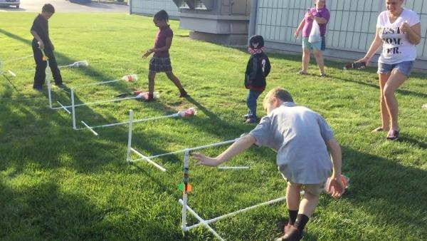 kids preparing to launch stomp rockets