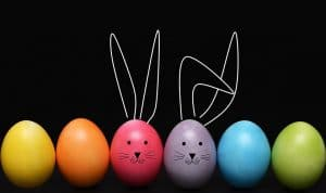 painted eggs with bunny ears