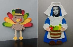 Thanksgiving craft projects - turkey and pilgrim
