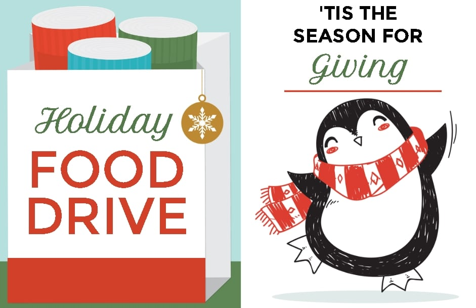 food drive sign and penguin with scarf