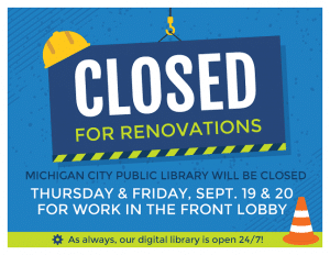 Library closed for renovations Sept. 19 and 20