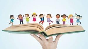 cartoon children on book