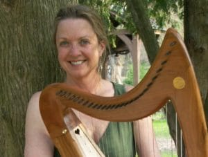 Debra Sawyer with harp