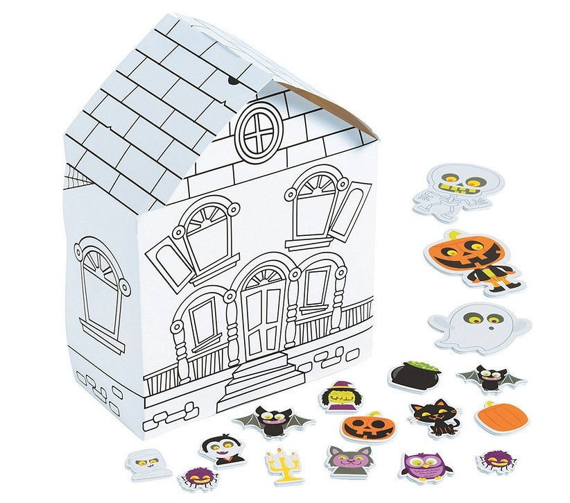 haunted house color-yourself halloween craft
