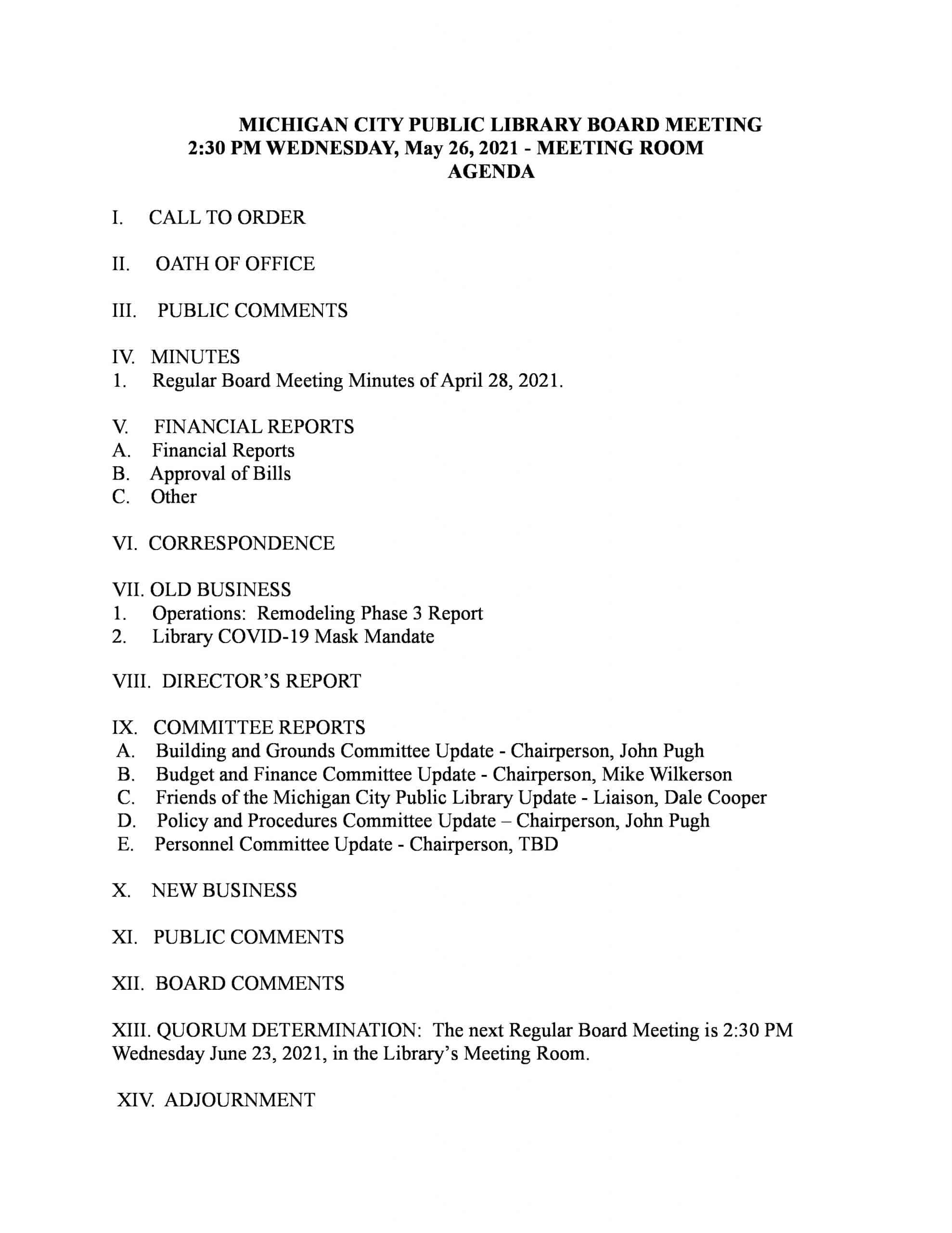 Board of Trustees May 2021 agenda