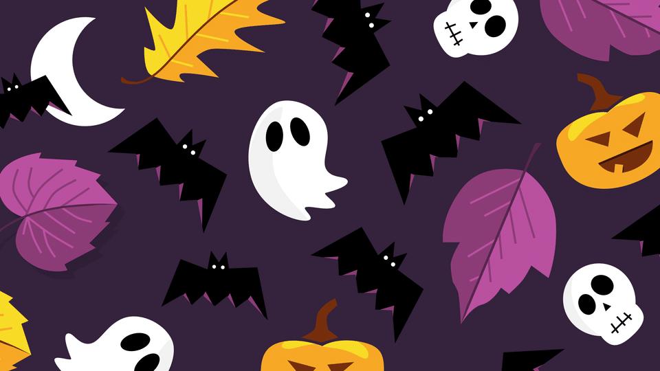 Halloween ghosts leaves bats